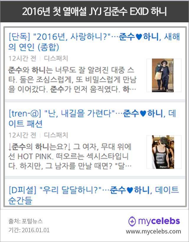2016 열애설, 김준수 하니, 하니 열애, 김준수 열애